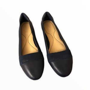 Geox Respira Navy Leather Flats